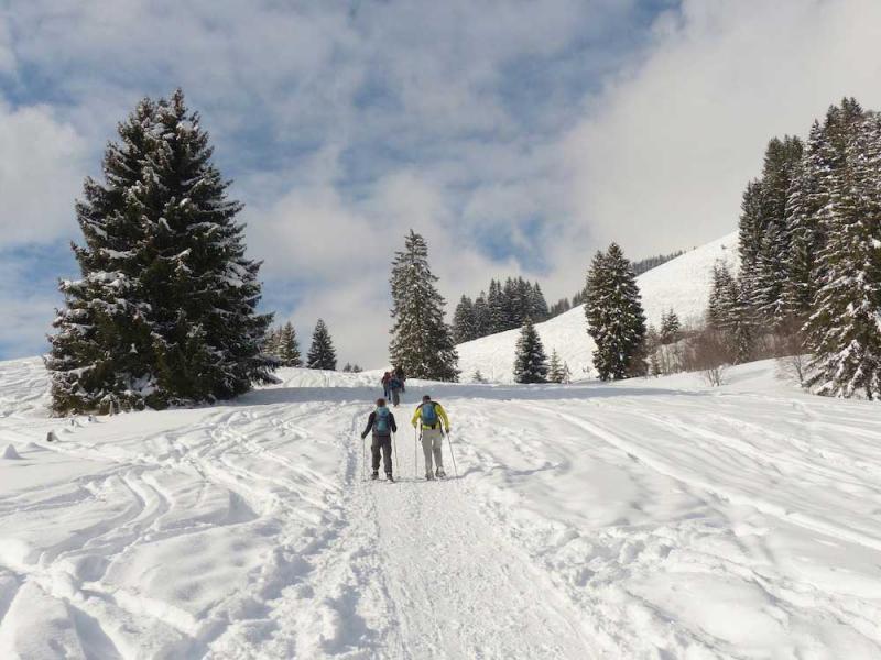 con le racchette da neve in val di sole